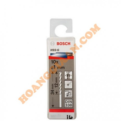 Mũi khoan sắt HSS-G 1mm 10 mũi Bosch 2 608 595 049