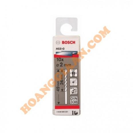 Mũi khoan sắt 2mm HSS-G 10 mũi Bosch 2 608 595 051
