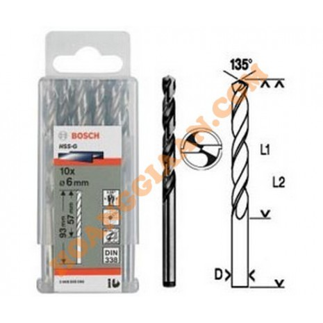 Mũi khoan sắt 3mm HSS-G 10 mũi Bosch 2 608 595 055