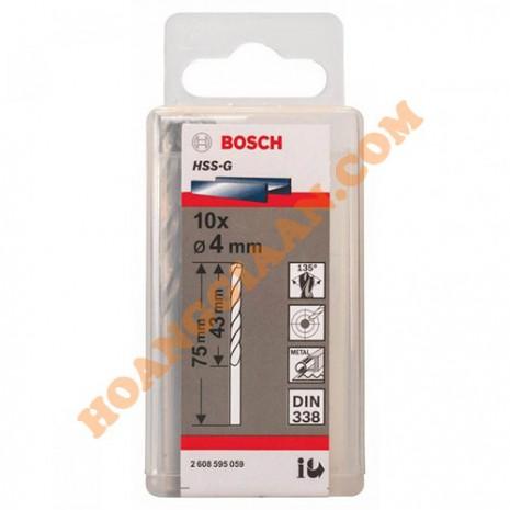 Mũi khoan sắt 4mm HSS-G 10 mũi Bosch 2 608 595 059