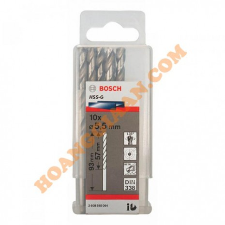 Mũi khoan sắt 5.5mm HSS-G 10 mũi Bosch 2 608 595 064