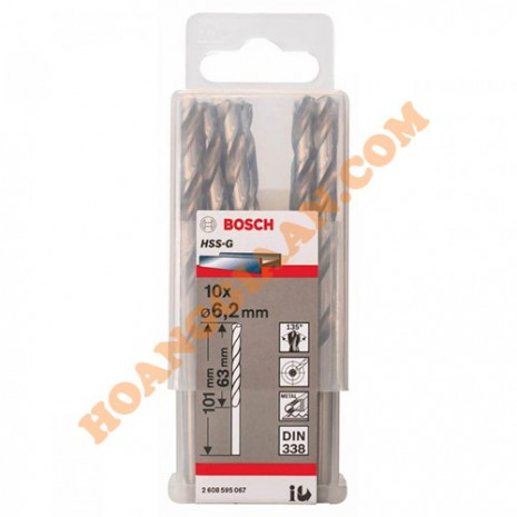 Mũi khoan sắt 6.2mm HSS-G 10 mũi Bosch 2 608 595 067